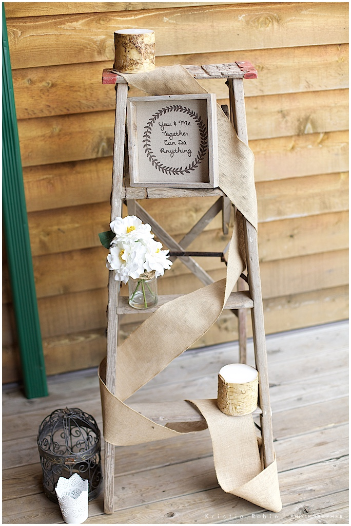Wooden ladder, signs and decoration styled by Bella Coastal Events, photo by Kristie Robin