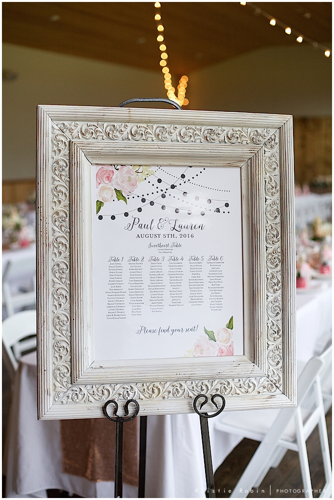 Table setting sign for a wedding, photo by Kristie Robin