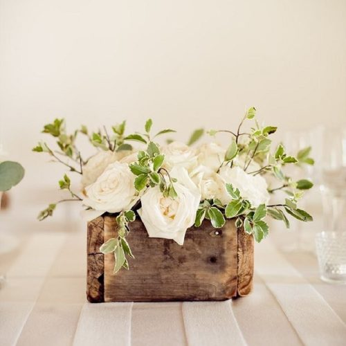 White roses in wooden box, photo by Natural Light Photography